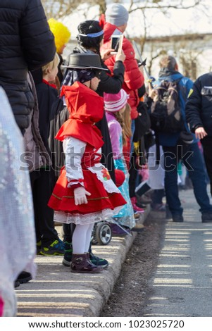 SLOVENIA - FEBRUARY 11th 2018: Famous carnival parade called PUST V CERKNICI with many etnographic and other masks in Cerknica, Slovenia