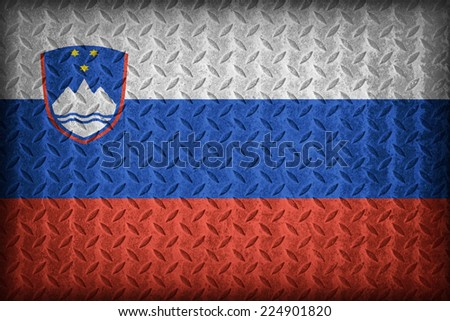 Slovenia flag pattern on the diamond metal plate texture ,vintage style - stock photo