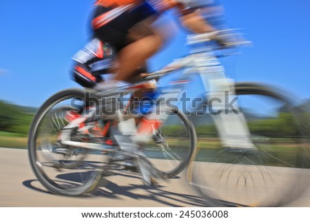 slow action of bicycle race. - stock photo