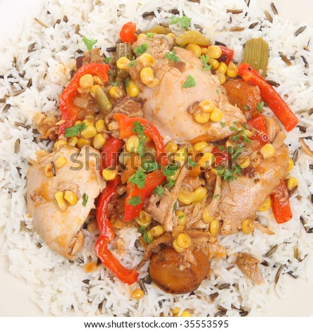 Slow-cooked chicken casserole with basmati and wild rice. - stock photo