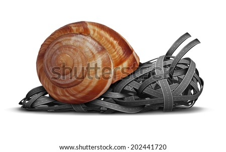 Slow direction business concept as a group of roads shaped as a slow moving snail as a metaphor for traffic delays in a bind or sluggish financial guidance and advice. - stock photo