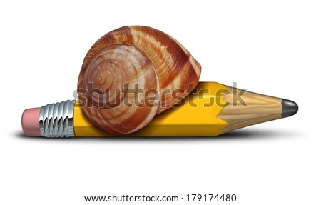 Slow strategy business concept and planning delays metaphor with a snail shaped as a pencil as a symbol of sluggish progress and procrastination of plans and reform. - stock photo