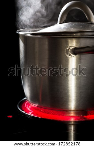 Slowfood - Lovely homemade dish being prepared in steaming pot on kitchen stove - stock photo