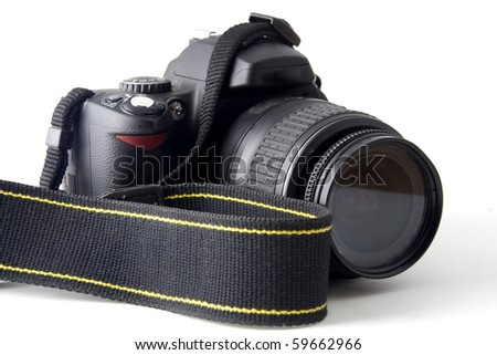 SLR camera over white background - stock photo