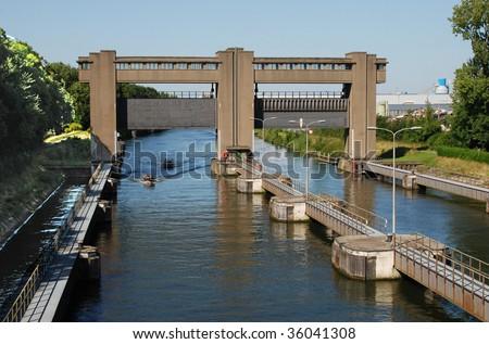 Sluice Gates on the River Maas, Maastricht, Netherlands - stock photo