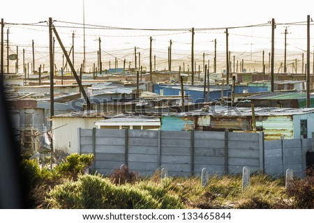 Slum houses outside of South Africa Cape town - stock photo