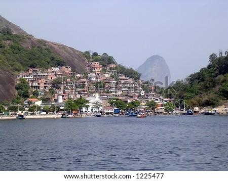 Slum near the sea - stock photo