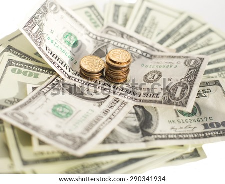 slump of russian ruble to dollar in crisis, stack of coins kopeck - stock photo