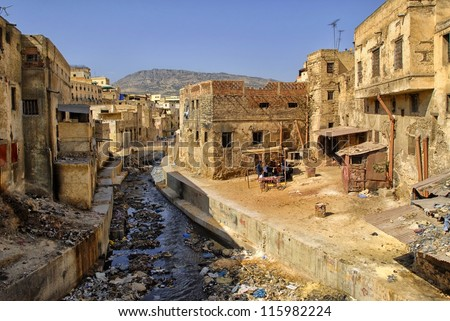 Slums in downtown of Fez, Morocco - stock photo