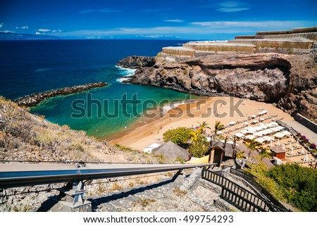 small Abama beach on the west coast of Tenerife, Canary islands, Spain