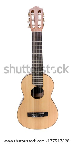 Small Acoustic guitar direct view on white background.  - stock photo