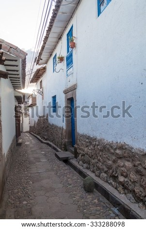 Small alley in San Blas neighborhood in Cuzco, Peru. - stock photo