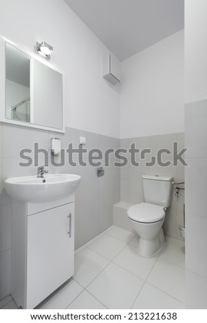Small and compact interior bathroom design in scandinavian style - stock photo