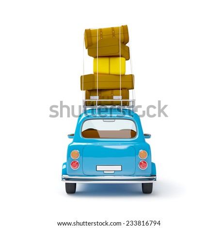 small and cute blue retro travel car, back view with luggage on white background - stock photo