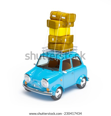 small and cute blue retro travel car on white background - stock photo