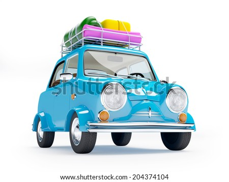 small and cute blue retro trip car on white background - stock photo