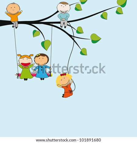 Small and happy kids on green tree - stock photo