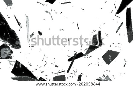 Small and large pieces of shattered black glass isolated on white - stock photo