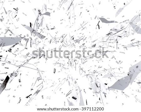 Small and large pieces of shattered black glass on white background
