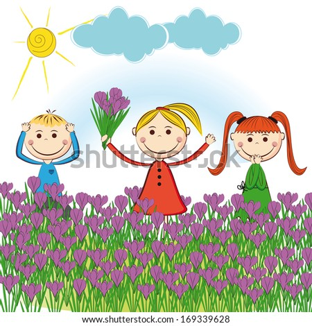 Small and smile boys and girls in spring garden - stock photo