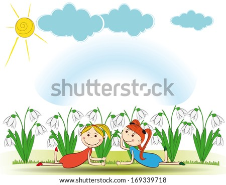 Small and smile girls in spring garden - stock photo