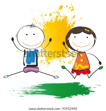 Small and smile kids play in outside - stock photo