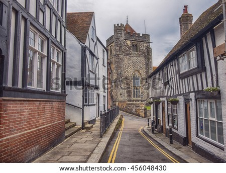 small antique street to St Clement cathedral , Hastings, UK