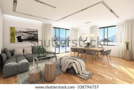 Small Apartment With A View To Mountains 3D Rendering