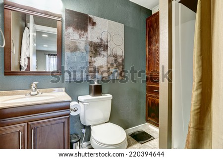Small aqua tone bathroom with brown cabinet and mirror,