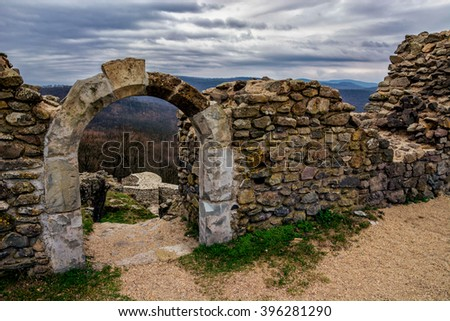 Small arch at the ruins of Castle Dregely, Hungary