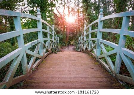 Small arched bridge in Marlay Park Dublin Ireland - stock photo