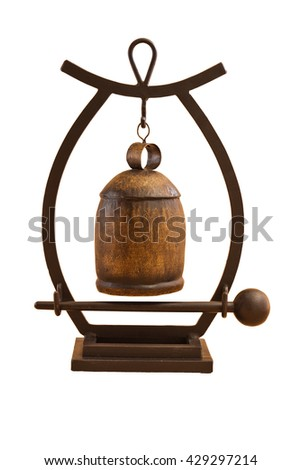 Small Asian gong isolated on a white background - stock photo
