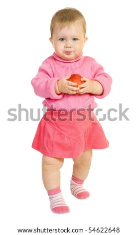 Small baby with apple - stock photo