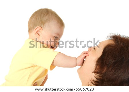 Small baby with mother isolated on white