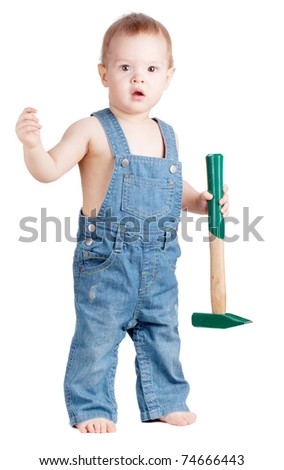 Small baby worker with hammer. Isolated on white - stock photo