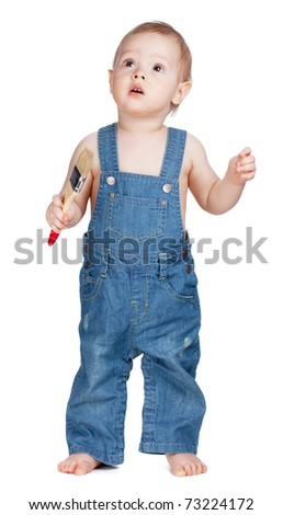 Small baby worker with paint brush. Isolated on white - stock photo