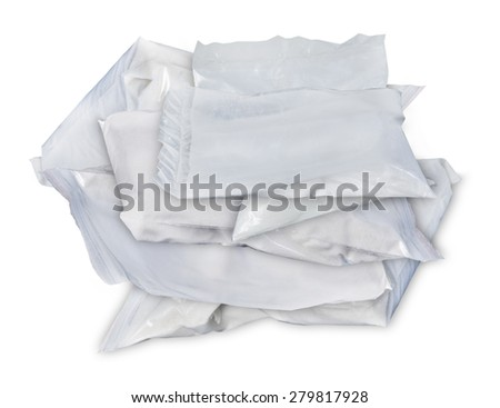 Small Baggies of unidentified White Drugs - path included - stock photo