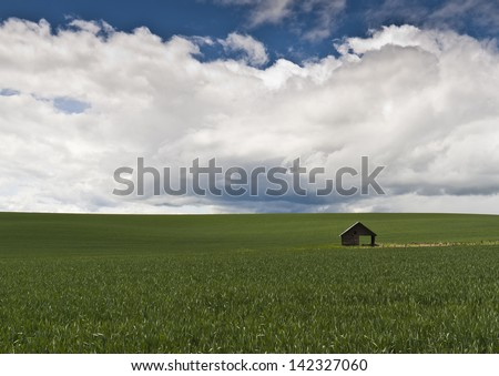 small barn in a green field with blue sky and clouds in the back ground - stock photo