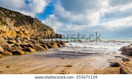 Small beach at Penberth Cove Penwith Cornwall England UK Europe - stock photo