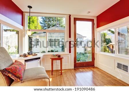 Small Bedroom Corner Burgundy Walls Chair Stock Photo Royalty Free