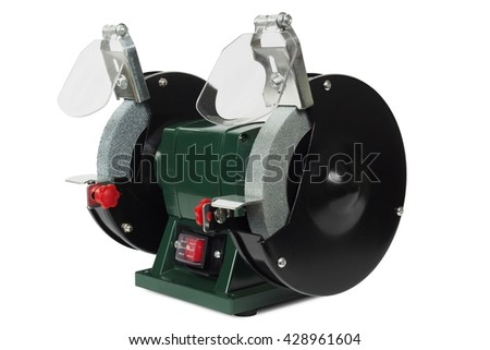 Small bench grinder isolated on white background - stock photo