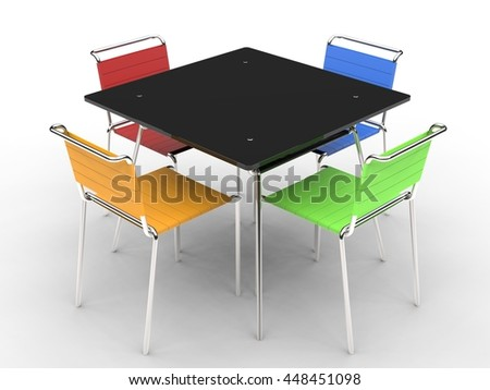 Small black dining table with colorful chairs - on white background - 3D render