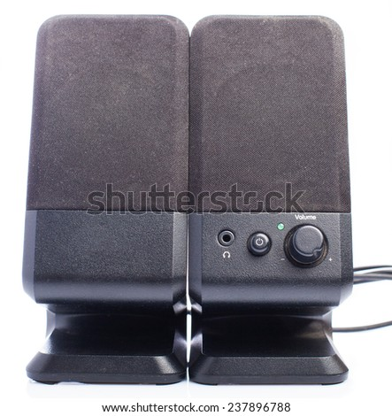 small black speakers on white background - stock photo