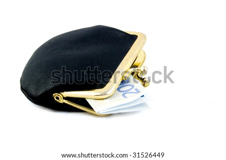 small black wallet with a twenty euro bill isolated on white