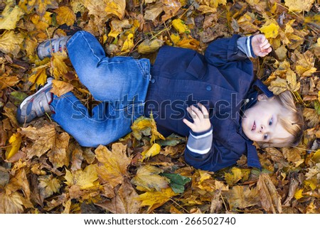 Small blond boy with blue eyes lays on bed of autumn fallen leaves  - stock photo