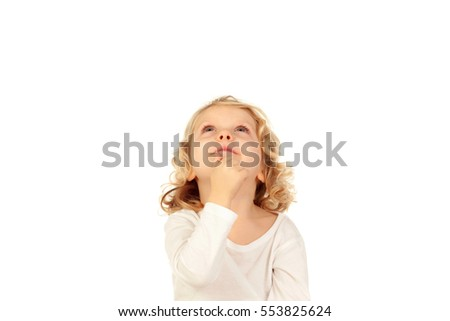Small blond child imagining something isolated on a white background