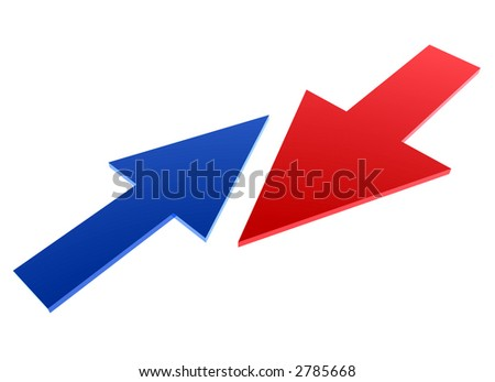 small blue arrow against big red arrow - stock photo