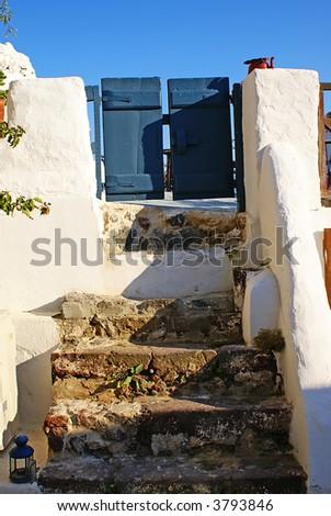 Small blue door - stock photo