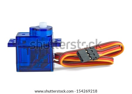 Small blue servo-unit for RC modelling isolated on white background - stock photo