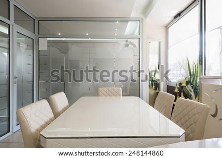 Small boardroom interior - stock photo